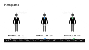 Pictograms - Timeline woman with different outfits