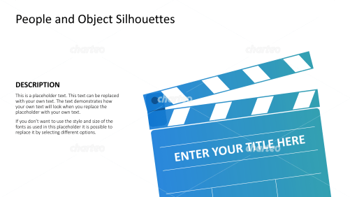 Silhouette of clapperboard or film slate