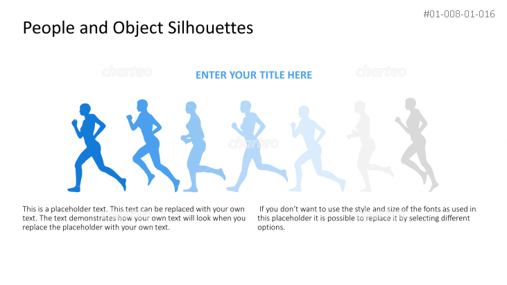 Silhouette of line of running people
