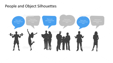 Silhouette of scattered people with speech bubbles