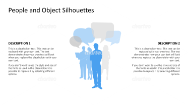 Silhouette of standing people with speech bubbles