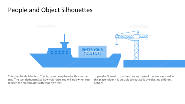 Silhouette of container crane loading cargo ship
