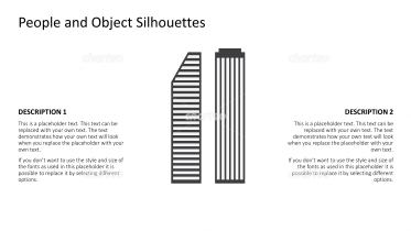 Silhouette of two tall skyscrapers
