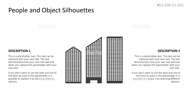 Silhouette of three differently shaped skyscrapers