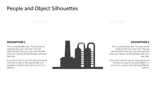 Silhouette of refinery with two distillation towers