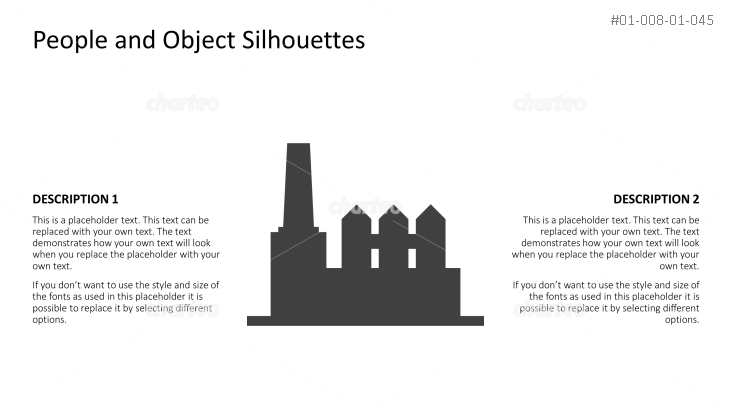 Silhouette of factory with three silos