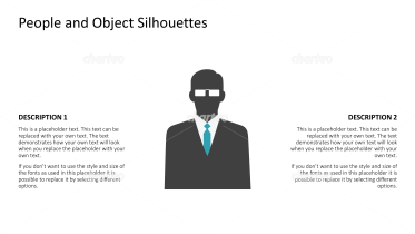 Silhouette of businessman with glasses and tie