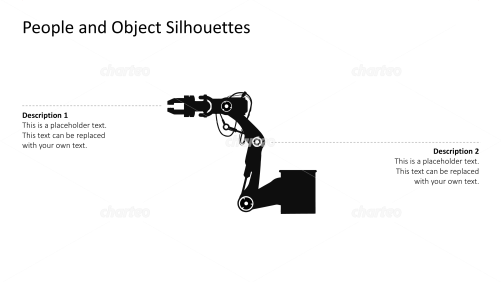 Silhouette of an industrial robotic arm with gripper