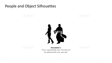 Silhouette of woman and man carrying luggage