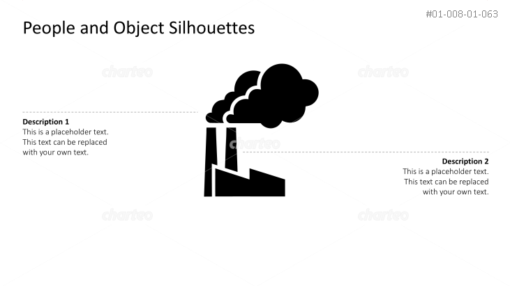 Silhouette of factory with smoking industrial chimneys