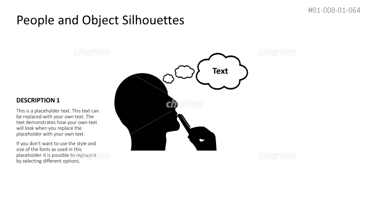 Silhouette of pondering head with thought bubble