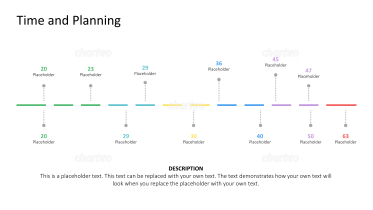 Abstract timeline counting days with milestone placeholders