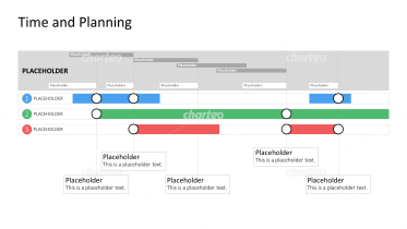 Gantt chart with project bars and several segments