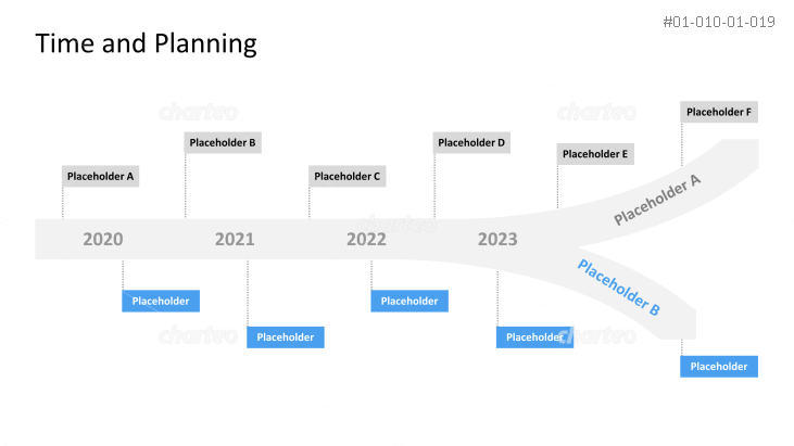 Branching-out timeline with years and milestone placeholders